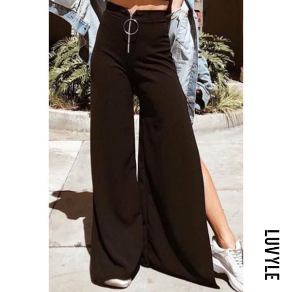 Black Side Slit Plain Casual Pants