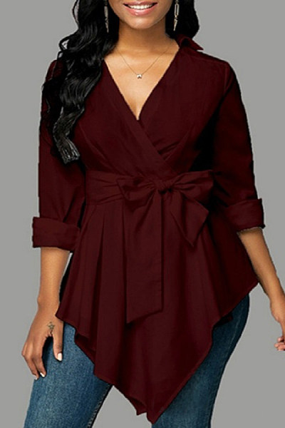 V Neck Irregular Hem Bow Knot Blouse