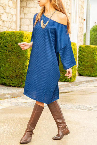 One Shoulder  Plain  Long Sleeve Casual Dresses