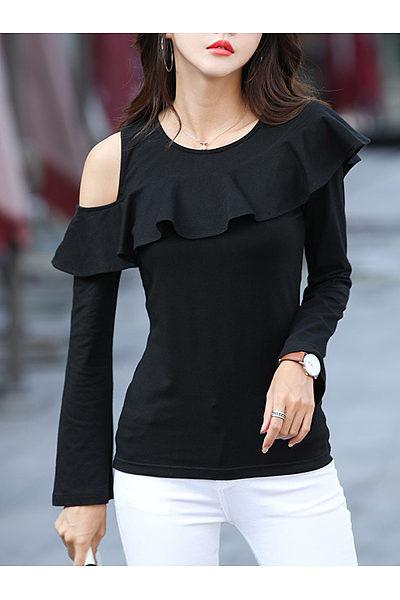 Open Shoulder  Flounce  Plain Long Sleeve T-Shirts