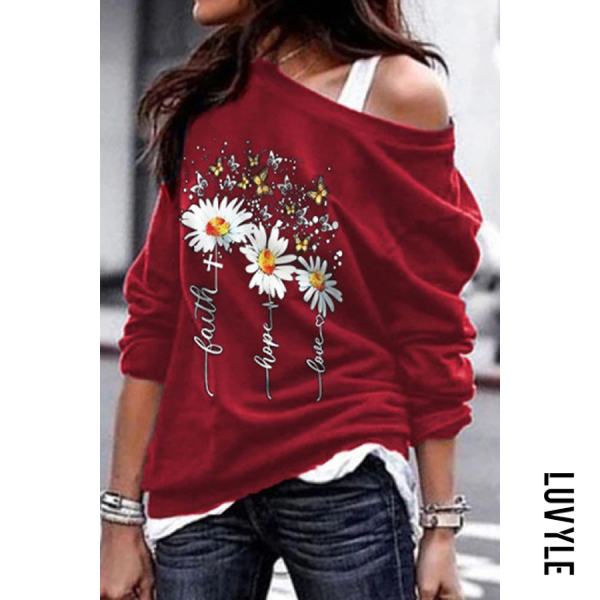 Red Daisy Open Shoulder Collar Hoody Red Daisy Open Shoulder Collar Hoody
