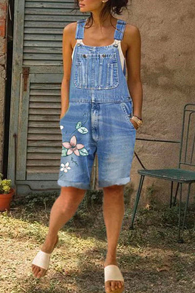 Floral Denim Casual Short Overall