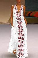 Dark V-Neck Cotton/Linen Printed Dress