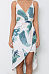 Spaghetti Strap  Asymmetric Hem  Printed  Sleeveless Maxi Dresses