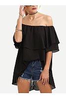 Off Shoulder  Asymmetric Hem  Cascading Ruffles  Plain  Petal Sleeve Short Sleeve T-Shirts