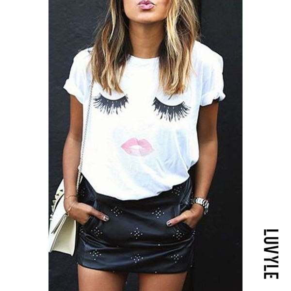 White Round Neck Lips Printed Short Sleeve T-Shirts White Round Neck Lips Printed Short Sleeve T-Shirts