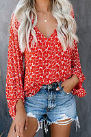 V Neck  Print  Bishop Sleeve Tops