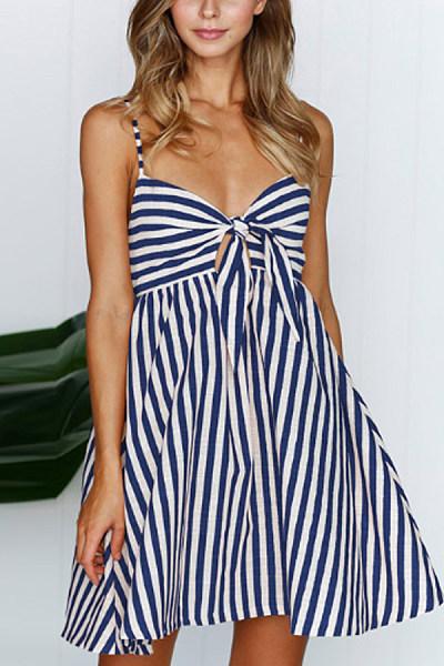 Spaghetti Strap  Backless Bow  Stripes  Sleeveless Skater Dresses