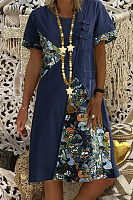 National style printed loose short sleeve round neck midi dress