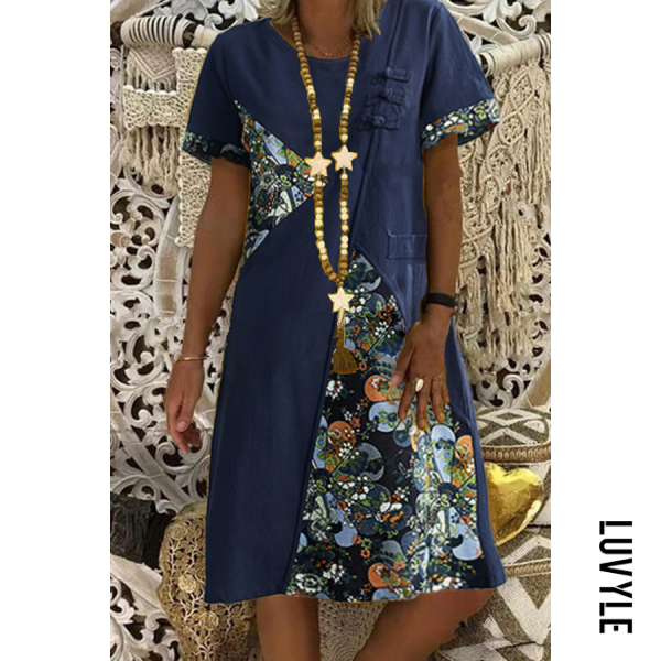National style printed loose short sleeve round neck midi dress