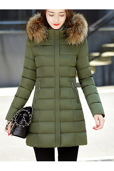 Hooded Quilted Longline Zips Pocket Padded Coat