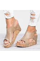 Peep Toe PU Blocking Hook-Loop Wedge Sandals Shoes