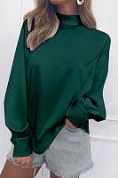 Turtle Neck Elegant Plain Lantern Sleeve Blouses