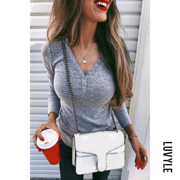 Women's fashion wild V-neck long-sleeved t-shirts - from $25.00