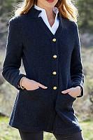 Ladies Solid Color Standing Collar Cardigan
