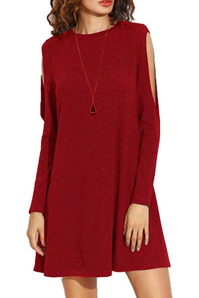 Round Neck  Cutout  Plain Casual Dresses