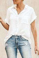 Fashion Cotton Linen Pure Color Short Sleeved Blouses