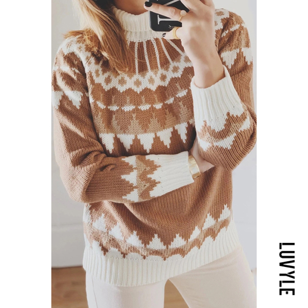Short high collar print sweater