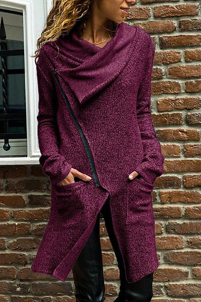 Asymmetric Neck Long Sleeve Plain Outerwear