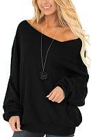 One Shoulder  Plain  Lantern Sleeve Sweatshirts