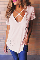 V Neck  Cutout Lace Up  Plain T-Shirts