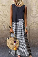 Round Neck Plaid Splice Maxi Dress
