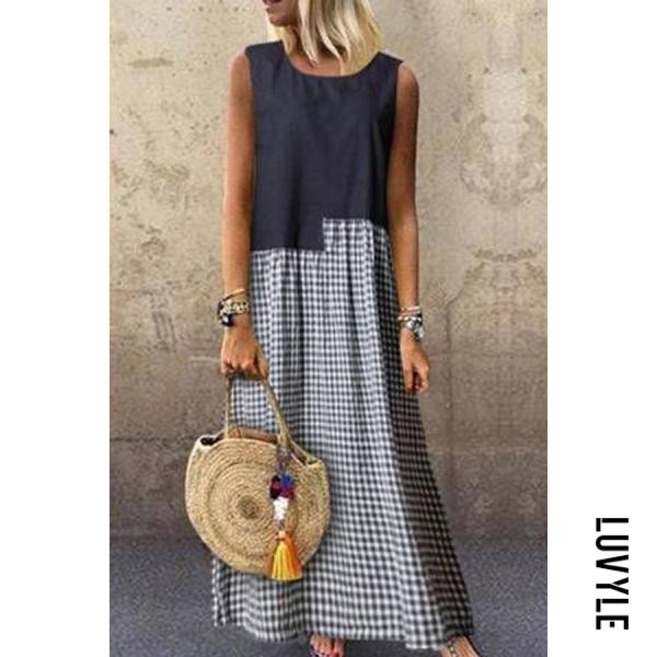 Round Neck Plaid Splice Maxi Dress
