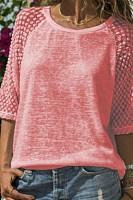 Lace Stitching Round Neck Cropped T-Shirt