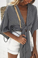 Deep V Neck  Striped  Batwing Sleeve  Blouses