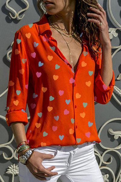 Turn Down Collar Heart  Printed Blouses