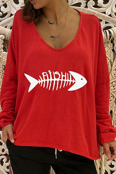 Solid Color Fishbone Printed Long Sleeve Blouse