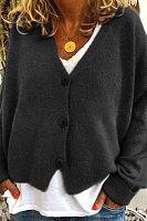 Simple Solid Color V-Neck Drop-Shoulder Sleeve Knit Cardigan