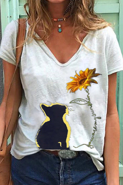 Cat Printed V Neck Short Sleeve T-shirt