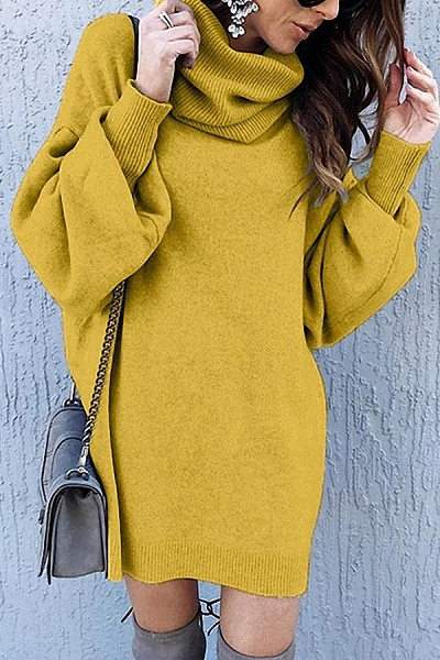 Fashion Turtle Neck Long Lantern Sleeve Plain Loose Knitting Casual Dress
