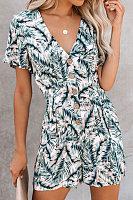 Printed vintage casual jumpsuit