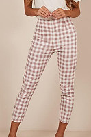 Fitted  Gingham  Basic  Pants