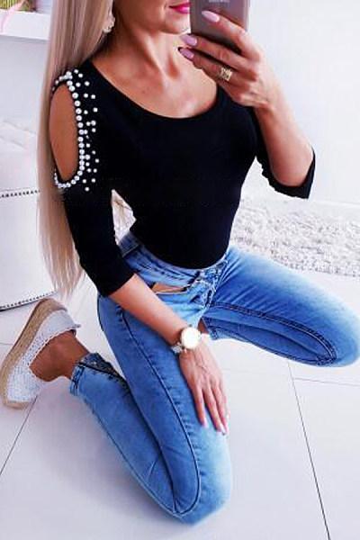 Fashion Round Neck Off-Shoulder Pearl T-Shirt