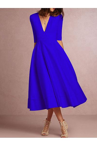 Deep V-Neck Plain Half Sleeve Maxi Dress