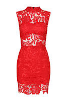 Red Lace Dress With High-neck