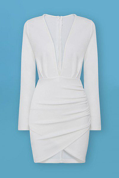 White Plunge Ruched Wrap-Style Dress