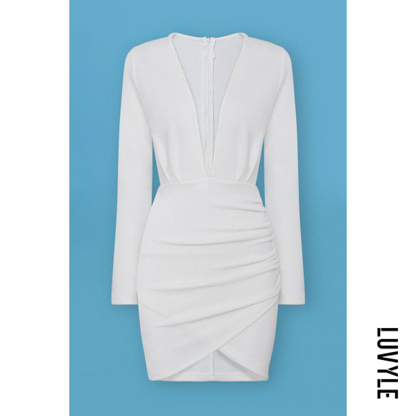 White White Plunge Ruched Wrap-Style Dress White style dress. Cut and plunging V neckline of this slightly stretchable_ unlined ruched dress gives it a vampy feel. This means it's the perfect dress for a party or working. Team it up with peep toe heels and a black clutch_ and you'll look va va voom everywhere.Slinky feel_ stretch fabricDeep V neckWrap puckered style frontZipper fastening backBodycon fitMachine wash Main: 50% Cotton_ 50% Polyester