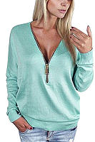 Light Blue Zipper V-neck Bat Sleeve Top