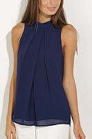 Navy High Neck Open Back Pleated Chiffon Vest