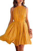 Orange Crew Neck Sleeveless Pleated Mini Dress