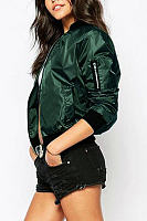 Army Green Fashion Zipper Bomber Jacket