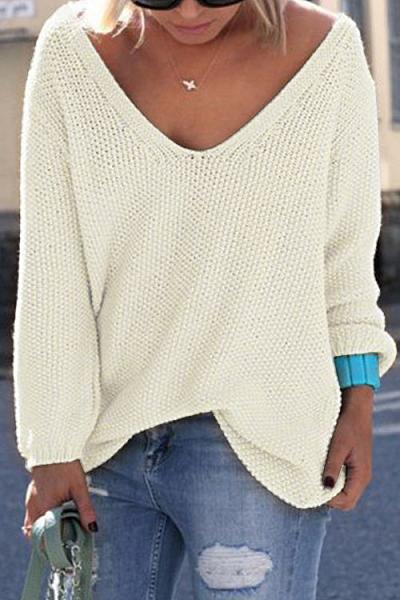 Classic Design White Loose Plunge Sweater