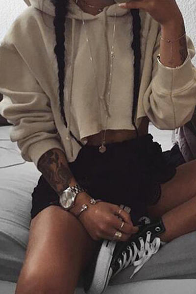 Khaki Casual Cropped Hoodie With Hood