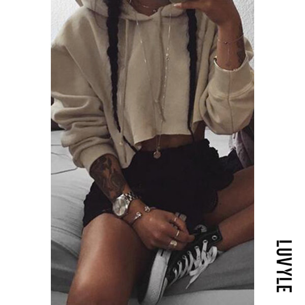 Khaki Casual Cropped Hoodie With Hood have of your sportswear wardrobeCasual styleDrawstring hoodLong sleevesCropped length Medium fitHand washMain: 80% Polyester_ 20% Other materialPackage Included: 1 * Hoodie