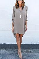 Grey Casual See-through Chiffon V-neck Curved Mini Dress