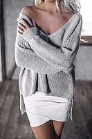 Grey V-neck Irregular Hem Plunge Jumper